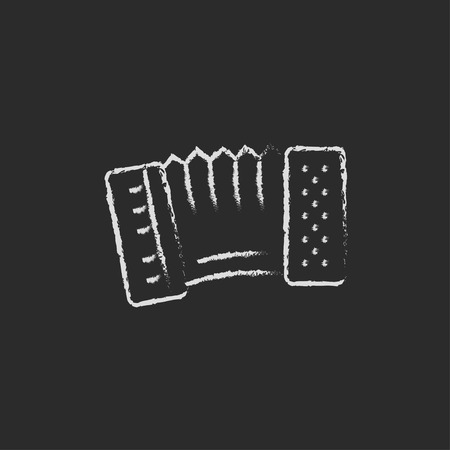 concertina: Accordion hand drawn in chalk on a blackboard vector white icon isolated on a black background. Illustration