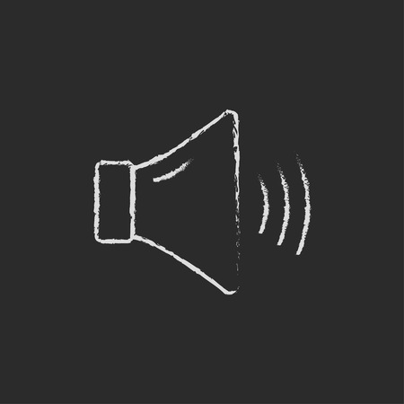 high volume: High speaker volume hand drawn in chalk on a blackboard vector white icon isolated on a black background.
