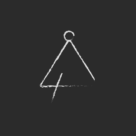 Triangle hand drawn in chalk on a blackboard vector white icon isolated on a black background. 矢量图像