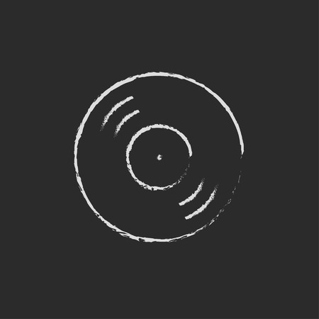 soundtrack: Disc hand drawn in chalk on a blackboard vector white icon isolated on a black background. Illustration