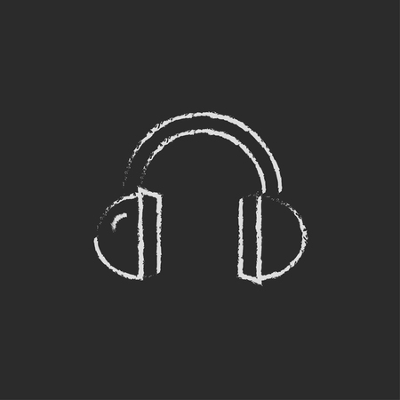 earpieces: Headphone hand drawn in chalk on a blackboard vector white icon isolated on a black background.