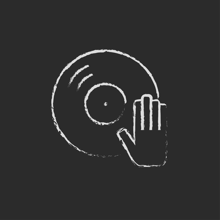 remix: Dj hand with disc hand drawn in chalk on a blackboard vector white icon isolated on a black background.