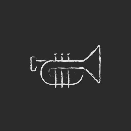 dessin noir et blanc: Trompette dessiné à la main à la craie sur un tableau noir vecteur icône blanche isolé sur un fond noir.