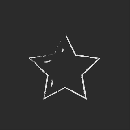 star rating: Star rating hand drawn in chalk on a blackboard vector white icon isolated on a black background. Vettoriali