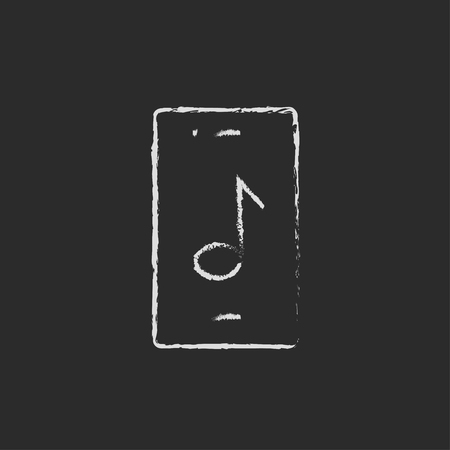 smartphone hand: Smartphone with music note hand drawn in chalk on a blackboard vector white icon isolated on a black background. Illustration