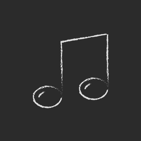 melodies: Music note hand drawn in chalk on a blackboard vector white icon isolated on a black background.