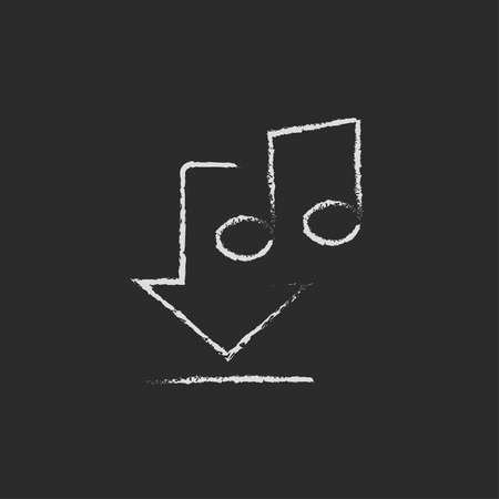 webshop: Download music hand drawn in chalk on a blackboard vector white icon isolated on a black background.