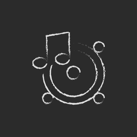 Loudspeakers with music note hand drawn in chalk on a blackboard vector white icon isolated on a black background.