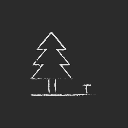 paysage: Landscape hand drawn in chalk on a blackboard vector white icon isolated on a black background.