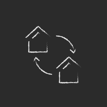 house exchange: House exchange hand drawn in chalk on a blackboard vector white icon isolated on a black background. Illustration