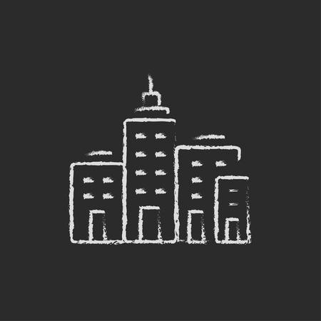 cemented: Edificios residenciales mano dibujado con tiza en un icono blanco vector de pizarra aislado en un fondo negro.