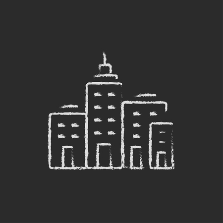 cemented: Residential buildings hand drawn in chalk on a blackboard vector white icon isolated on a black background. Illustration