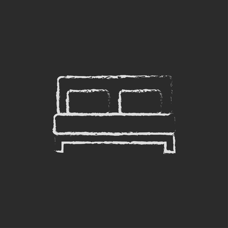 interior decoration: Sofa hand drawn in chalk on a blackboard vector white icon isolated on a black background. Illustration