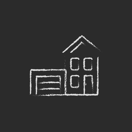 domestic garage: House with garage hand drawn in chalk on a blackboard vector white icon isolated on a black background.