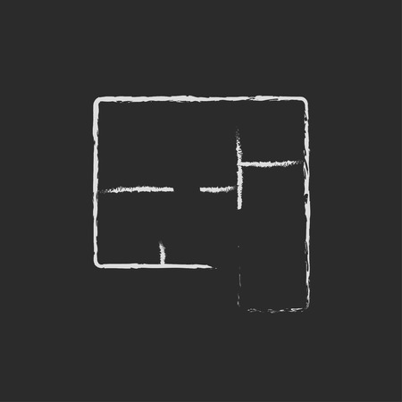 Layout of the house hand drawn in chalk on a blackboard vector white icon isolated on a black background.