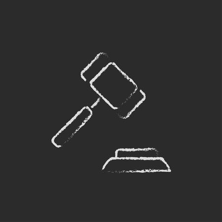 auction gavel: Auction gavel hand drawn in chalk on a blackboard vector white icon isolated on a black background.