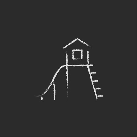 maison jouet: Playhouse with slide hand drawn in chalk on a blackboard vector white icon isolated on a black background. Illustration