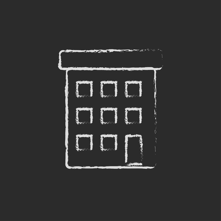 multi storey: Condominium building hand drawn in chalk on a blackboard vector white icon isolated on a black background. Illustration