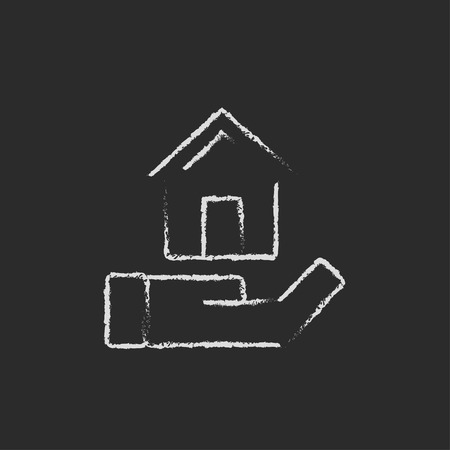 providence: House insurance hand drawn in chalk on a blackboard vector white icon isolated on a black background. Illustration