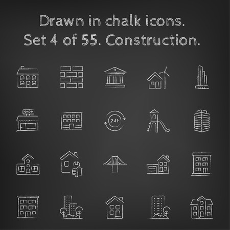 multi story: Construction icon set hand drawn in chalk on a blackboard vector white icons on a black background.