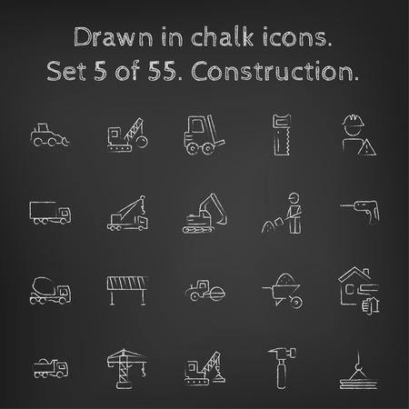 建設アイコンは、黒の背景に黒板白ベクトル アイコンにチョークで描かれた手を設定します。