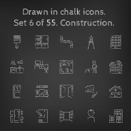 Bouw icon set hand getekend met krijt op een schoolbord vector wit pictogrammen op een zwarte achtergrond. Stock Illustratie