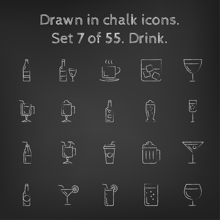 Drink icon set hand drawn in chalk on a blackboard vector white icons on a black background.