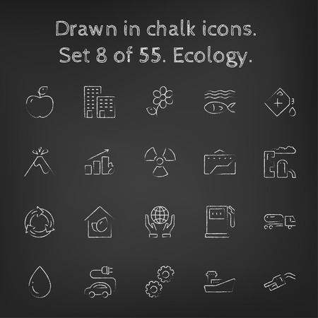 ionizing radiation: Ecology icon set hand drawn in chalk on a blackboard vector white icons on a black background. Illustration