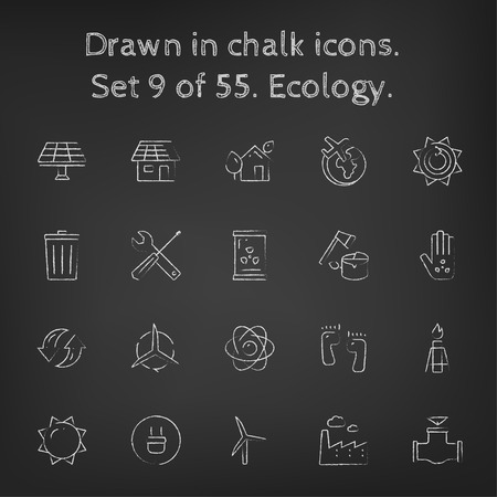 ionizing: Ecology icon set hand drawn in chalk on a blackboard vector white icons on a black background. Illustration