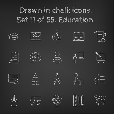 Education icon set hand drawn in chalk on a blackboard vector white icons on a black background.
