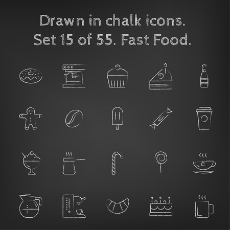 black men: Fast food icon set hand drawn in chalk on a blackboard vector white icons on a black background. Illustration