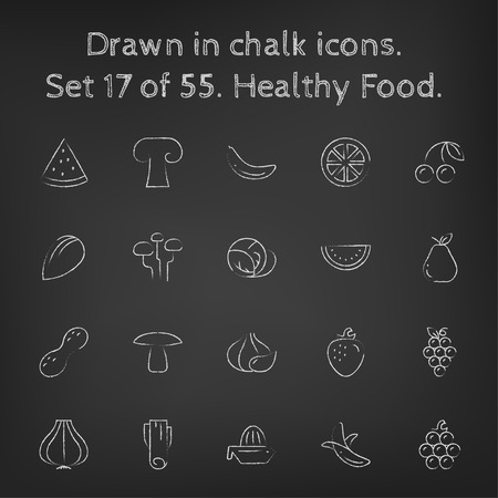 Healthy food icon set hand drawn in chalk on a blackboard vector white icons on a black background.