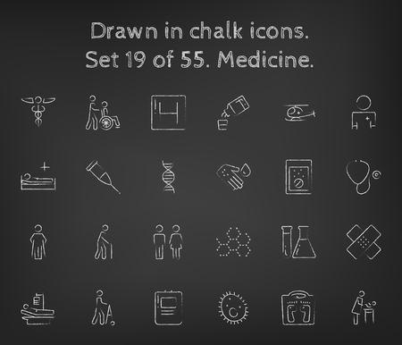 bacteria in heart: Medicine icon set hand drawn in chalk on a blackboard vector white icons on a black background.