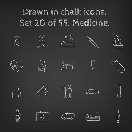 Medicine icon set hand drawn in chalk on a blackboard vector white icons on a black background.