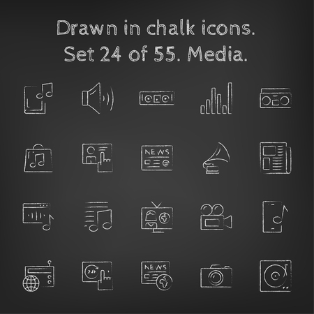 smartphone icon: Media icon set hand drawn in chalk on a blackboard vector white icons on a black background.