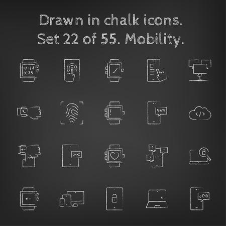 blackboard: Icono de Movilidad establecer dibujado a mano con tiza en una pizarra de vectores iconos blancos sobre un fondo negro.