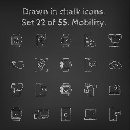 blackboard: Mobility icon set hand drawn in chalk on a blackboard vector white icons on a black background.