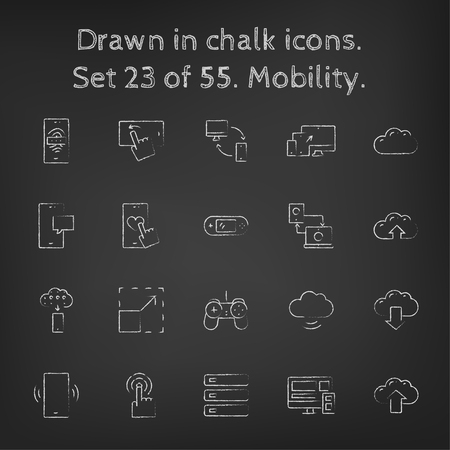 scalability: Mobility icon set hand drawn in chalk on a blackboard vector white icons on a black background.