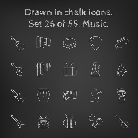 earpieces: Music icon set hand drawn in chalk on a blackboard vector white icons on a black background.