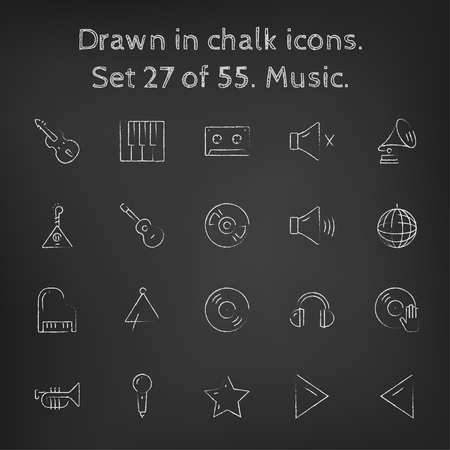music background: Music icon set hand drawn in chalk on a blackboard vector white icons on a black background.