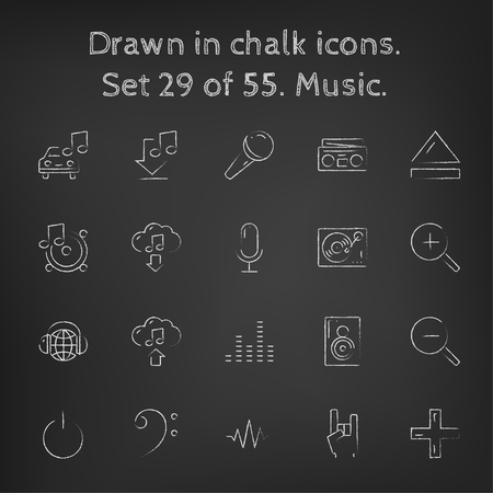 turn up: Music icon set hand drawn in chalk on a blackboard vector white icons on a black background.