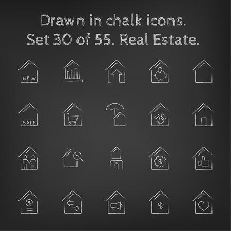 pizarron: Icono de las propiedades inmobiliarias establecer dibujado a mano con tiza en una pizarra de vectores iconos blancos sobre un fondo negro. Vectores
