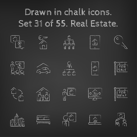 car for sale: Real estate icon set hand drawn in chalk on a blackboard vector white icons on a black background. Illustration