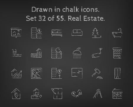 blackboard: Real estate icon set hand drawn in chalk on a blackboard vector white icons on a black background. Illustration