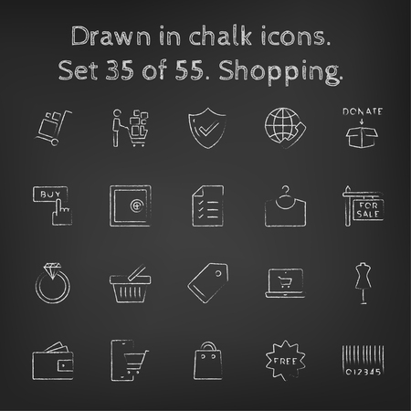 Shopping icon set hand drawn in chalk on a blackboard vector white icons on a black background.