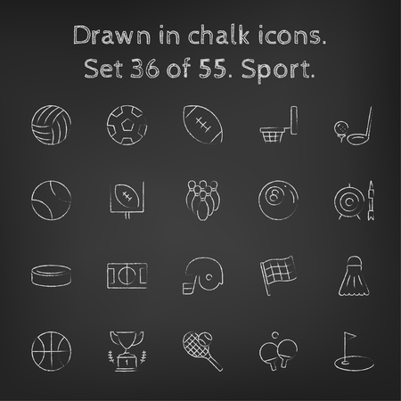 pelota de voleibol: Icono del deporte fijado dibujado a mano con tiza en una pizarra blanca iconos vectoriales sobre un fondo negro. Vectores