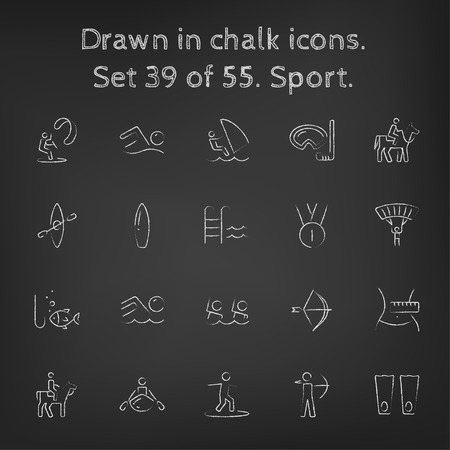 synchronized: Sport icon set hand drawn in chalk on a blackboard vector white icons on a black background.