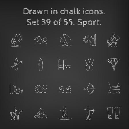 Sport icon set hand getekend met krijt op een schoolbord vector wit pictogrammen op een zwarte achtergrond. Stock Illustratie