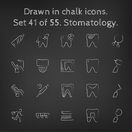 cleanliness: Stomatology icon set hand drawn in chalk on a blackboard vector white icons on a black background. Illustration