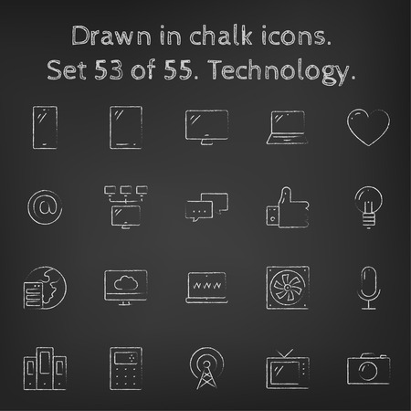 web icons: Technology icon set hand drawn in chalk on a blackboard vector white icons on a black background. Illustration